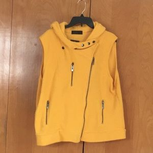 Golden yellow fleece zip up hoodie vest